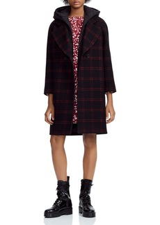 Maje Gloz Plaid Down-Hood Coat