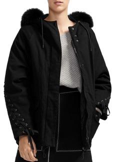 Maje Grillone Arctic Fox Fur-Trimmed Coat