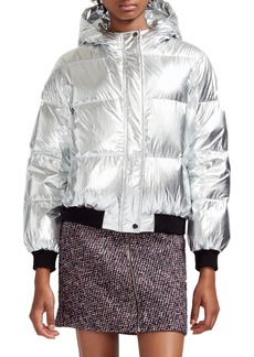 maje Hooded Metallic Puffer Jacket