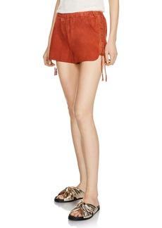 Maje Ilan Lace-Up Suede Shorts