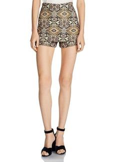 Maje Ilio Front-Overlay Tapestry-Inspired Jacquard Mini Shorts