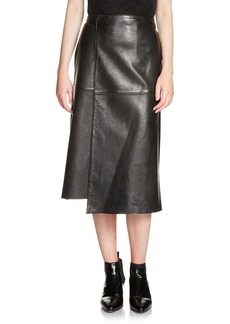 Maje Jacron Leather Wrap Skirt
