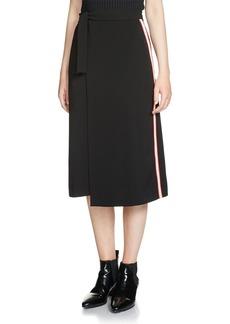 Maje Jactione Stripe Wrap Midi Skirt