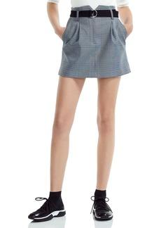 Maje Jadie Pleated Prince of Wales Mini Skirt