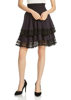 Maje Jaglia Tiered Lace-Trim Skirt