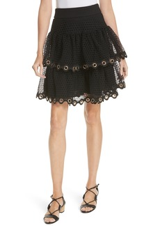 maje James Tiered Ruffle Grommet Skirt