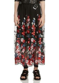 Maje Jamie Floral-Embroidered Mesh Skirt