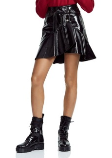 Maje Janak Ruffled Patent Leather Wrap Skirt