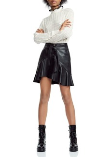 Maje Janaki Leather Wrap Skirt