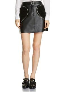 Maje Janki Leather & Suede Eyelet Skirt