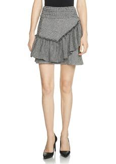 Maje Jany Ruffled Jacquard Skirt