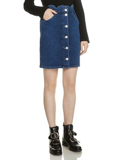 Maje Jaron Button-Front Denim Skirt