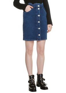 maje Jaron Scallop Waist Denim Skirt