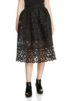 Maje Jaspe Lace Midi Skirt