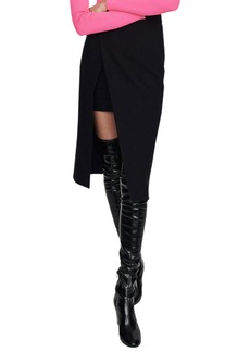 maje Jeanne Calf-Length Split Pencil Skirt