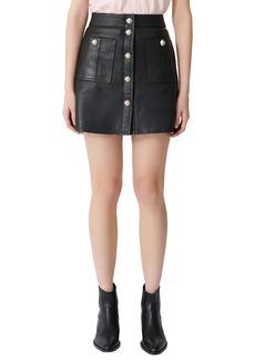 maje Jeate Leather Miniskirt