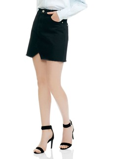 Maje Jeni Frayed Notched Cotton Mini Skirt