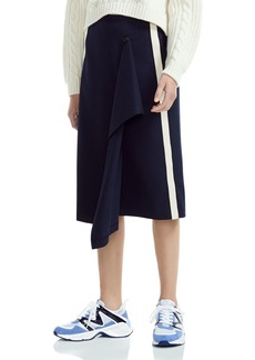 Maje Jidaia Striped Drape-Detail Midi Skirt