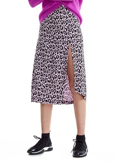 maje Jipanta Leopard Print Side Slit Skirt
