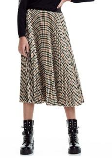 maje Johnny Check Pleated Midi Skirt