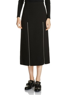 Maje Jona Zip-Detail Slit Midi Skirt