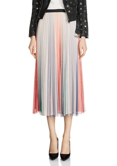 Maje Jonaelo Color-Blocked Pleated Skirt