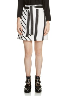 Maje Jonson Striped Belted A-Line Skirt