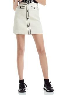 Maje Joppy Decorative-Button Tweed Mini Skirt