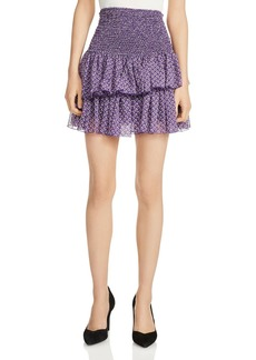Maje Joumi Smocked Printed Mini Skirt