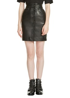 maje Journey Leather Miniskirt
