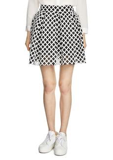 Maje Jungle Grid Mesh Skirt