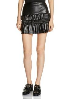 Maje Jupia Smocked Ruffled Mini Skirt