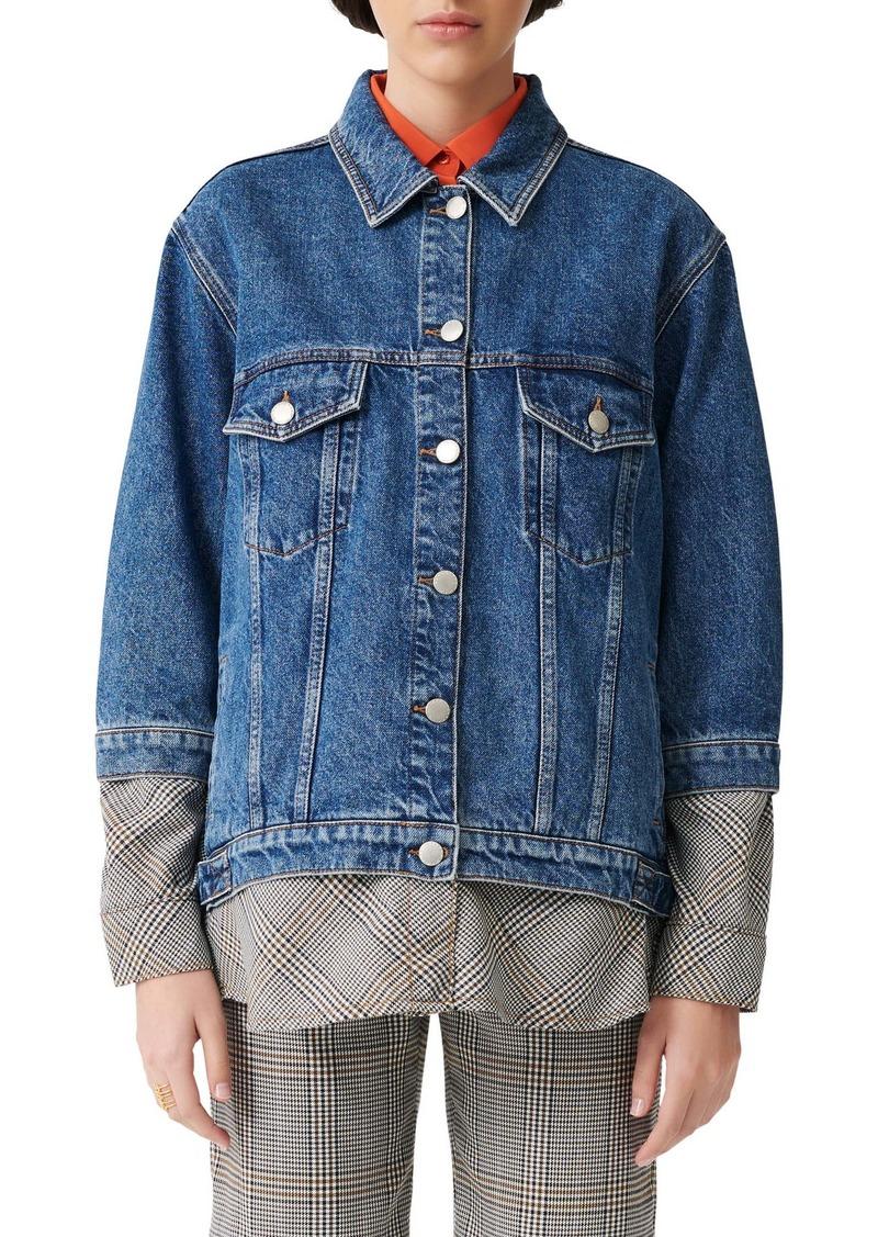 maje Layered Denim Jacket