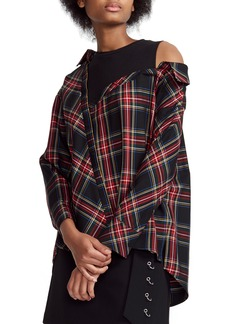 maje Lazak Deconstructed Plaid Top