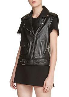 maje Leather Moto Vest
