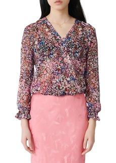 maje Lehane Floral Long Sleeve Silk Blouse