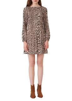 maje Leopard Print Long Sleeve Pleated Shift Dress