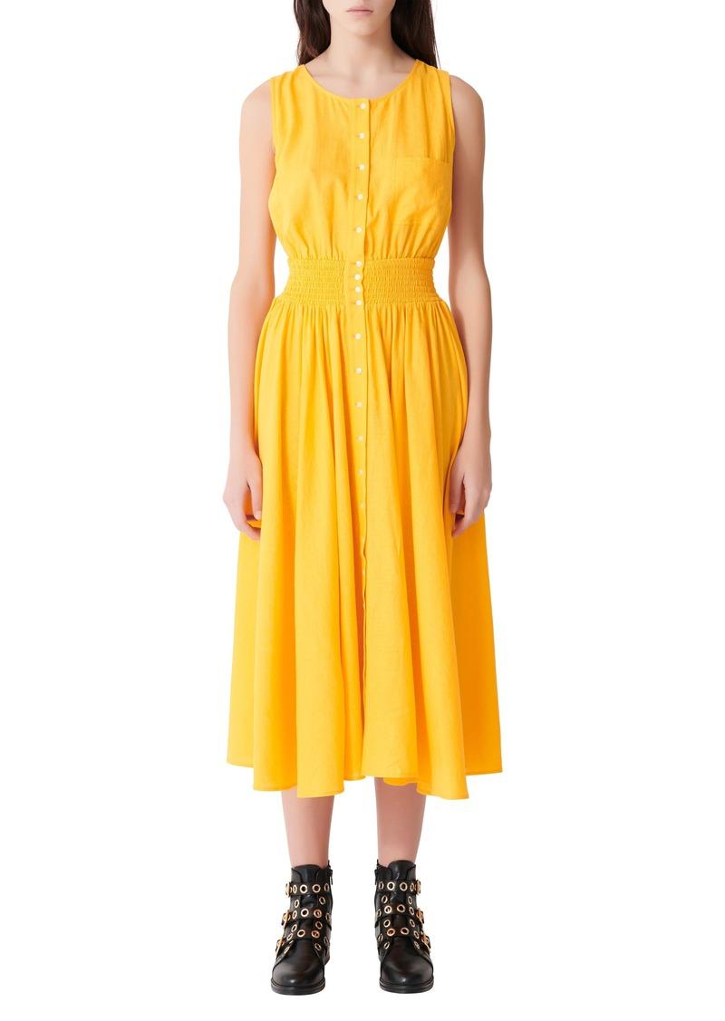 maje Linen Blend Midi Dress