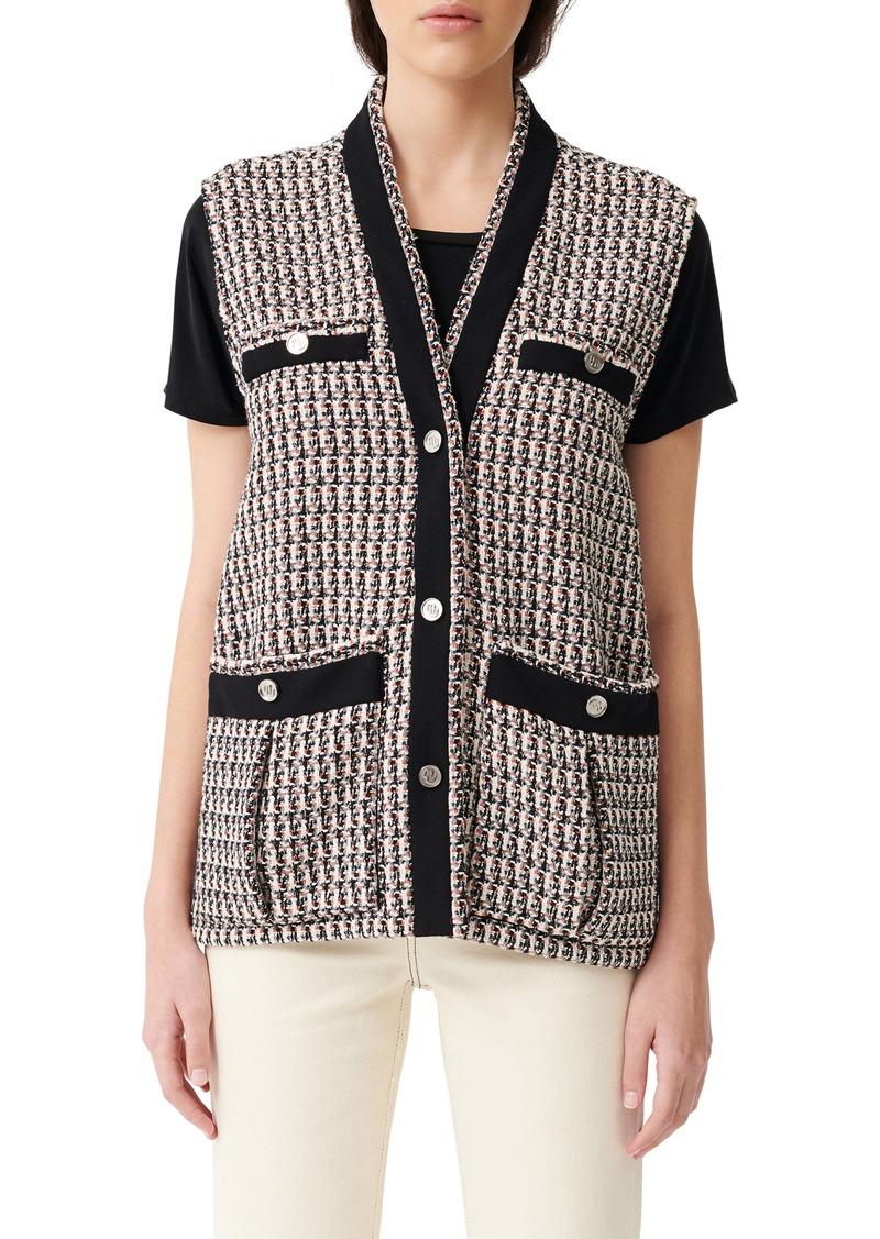 maje Long Metallic Tweed Vest