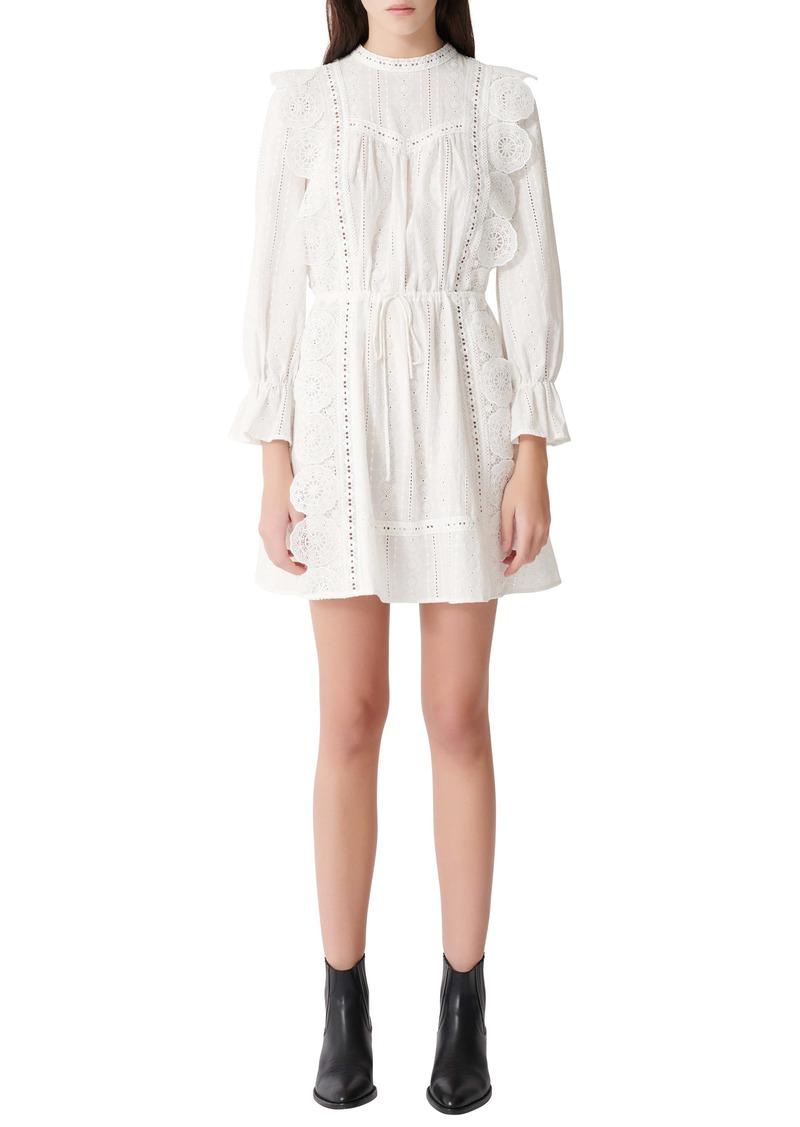 maje Long Sleeve Ruffle & Lace Minidress