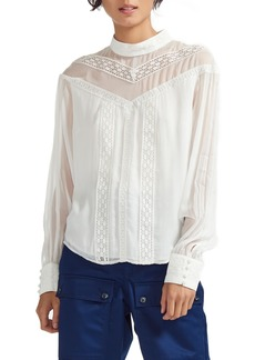 maje Ludmi Lace Trim Blouse