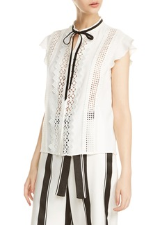 maje Luno Embroidered Inset Blouse