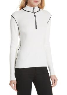 maje Mandou Cotton Wool Blend Half Zip Sweater