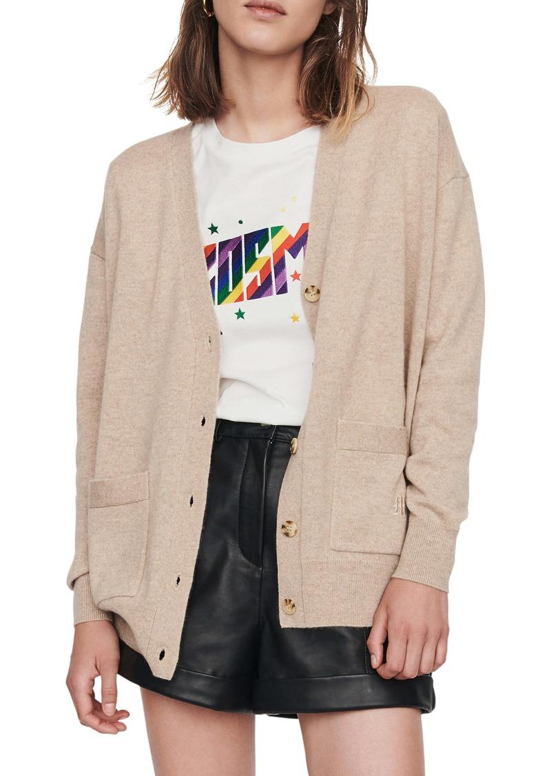 maje Maxence Cashmere Cardigan Sweater