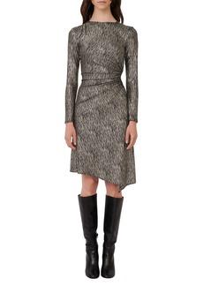 maje Metallic Long Sleeve Gathered Side Cutout Dress