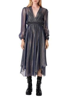 maje Metallic Plissé Long Sleeve Midi Dress