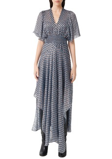 maje Metallic Print Scarf Dress