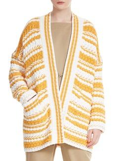 maje Milio Chunky Stripe Cotton Blend Cardigan