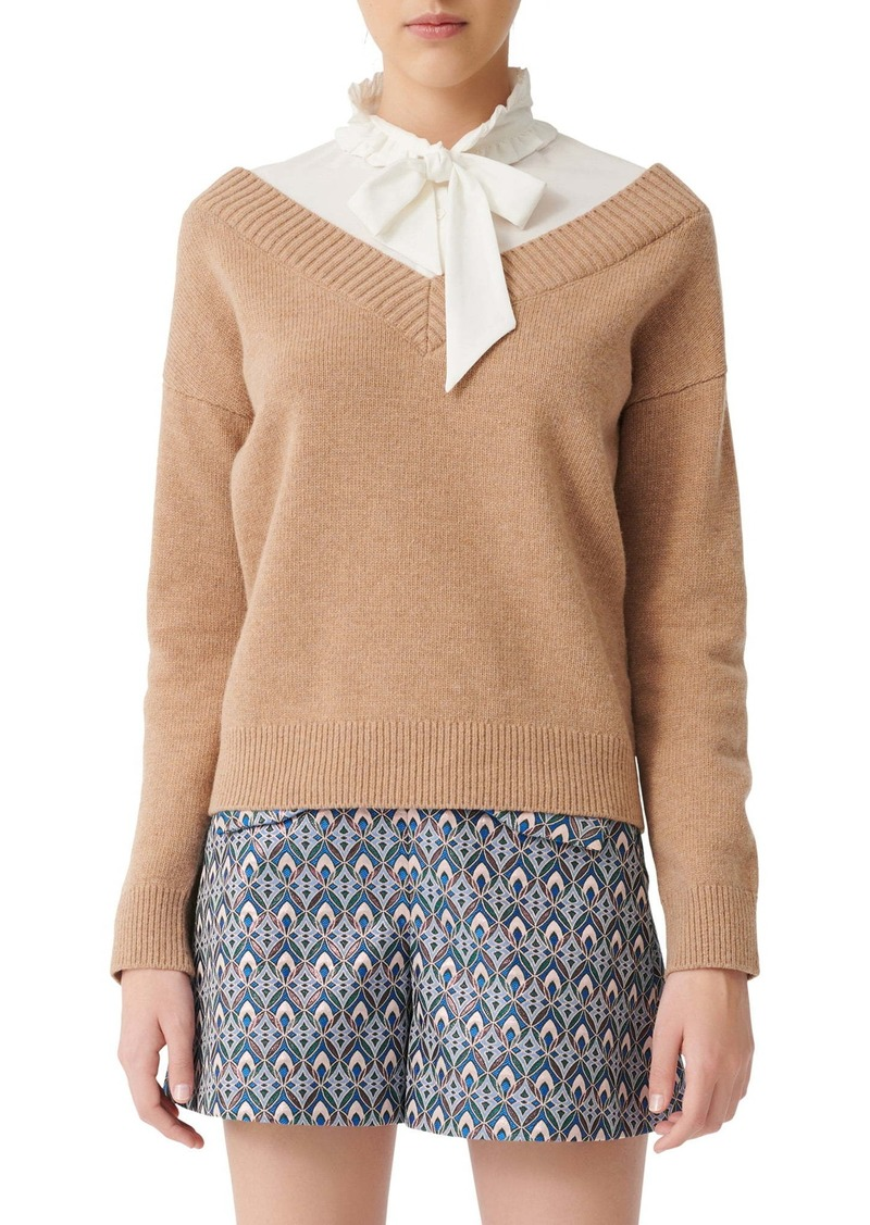 maje Mirelle Layered Shirt & Wool Blend Sweater Pullover
