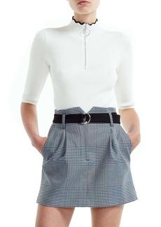 maje Misty Half Zip Ribbed Cotton & Wool Blend Sweater